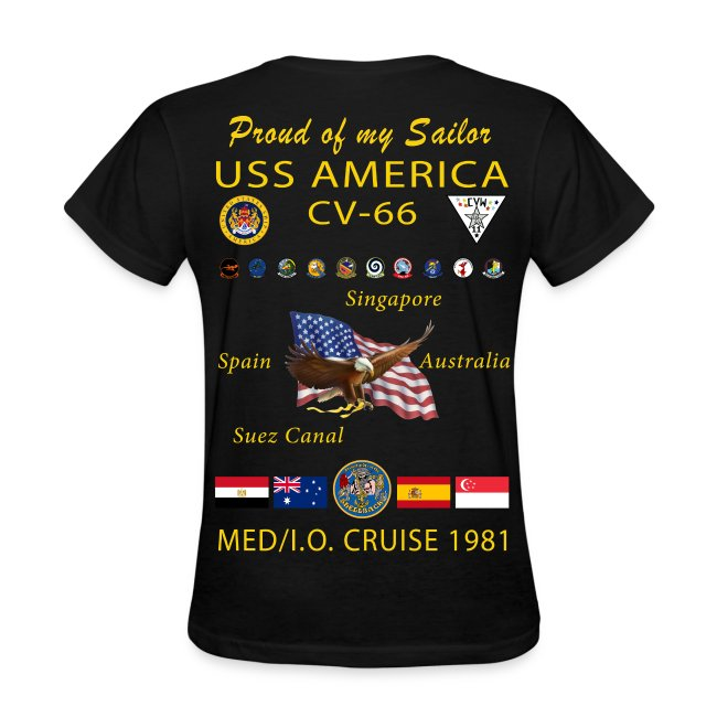 USS AMERICA CV-66 1981 WOMENS CRUISE SHIRT - FAMILY