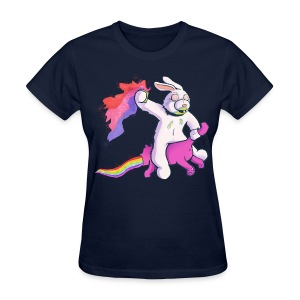 Women's T-Shirt - From high profile dancer to drug dealer Bunny has left shock and awe in his wake. He rides a techno kitten, which was taken by force. Likely need some fundip in your system before wearing this.