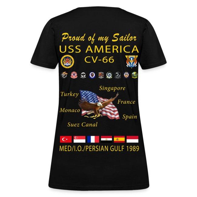 USS AMERICA CV-66 1989 WOMENS CRUISE SHIRT - FAMILY