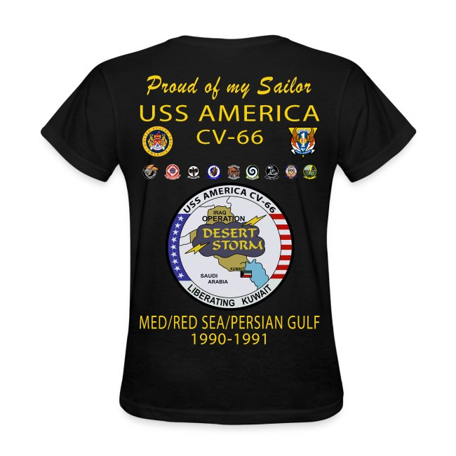 USS AMERICA CV-66 1990-91 Operation Desert Shield/Storm (ver 2) WOMENS CRUISE SHIRT - FAMILY