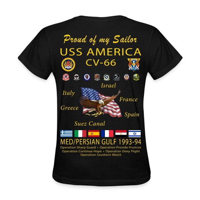 USS AMERICA CV-66 1993-94 WOMENS CRUISE SHIRT - FAMILY