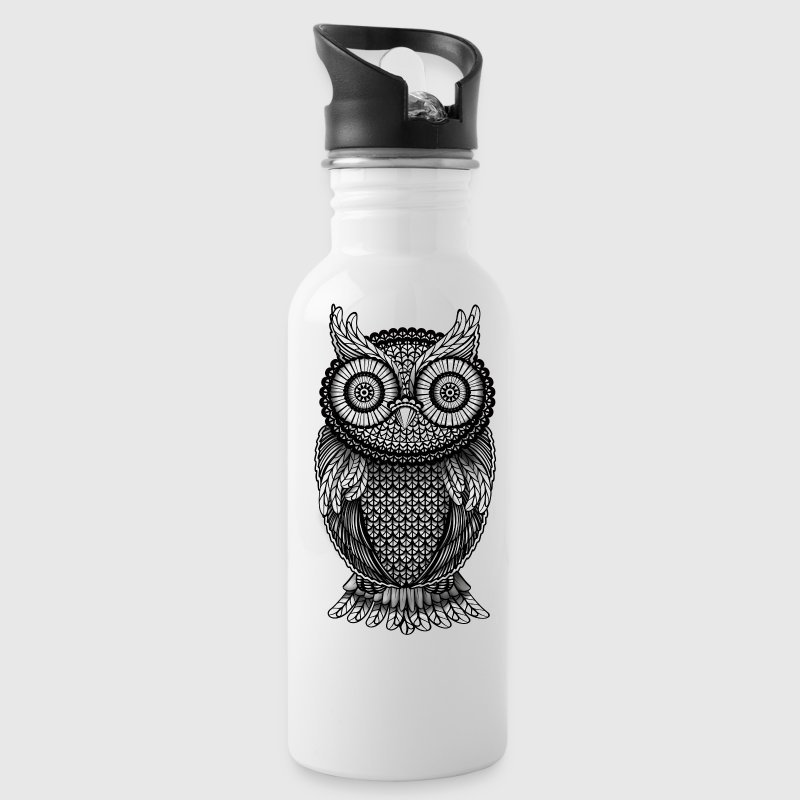 ornamental Owl Design black and white Accessories - Water Bottle