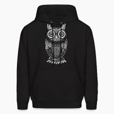 ornamental Owl Design black and white Hoodies