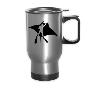 animal t-shirt manta ray scuba diver diving dive fish sting ray - Travel Mug