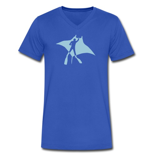 animal t-shirt manta ray scuba diver diving dive fish sting ray - Men's V-Neck T-Shirt by Canvas