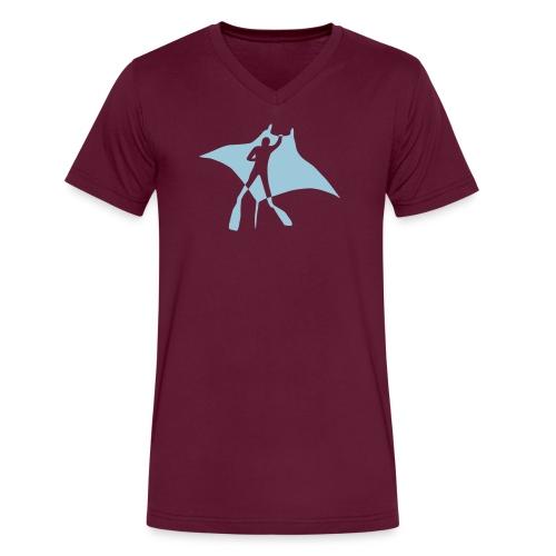 animal t-shirt manta ray scuba diver diving dive fish sting ray - Men's V-Neck T-Shirt by Canvas