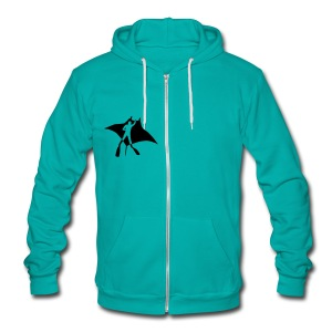 animal t-shirt manta ray scuba diver diving dive fish sting ray - Unisex Fleece Zip Hoodie by American Apparel