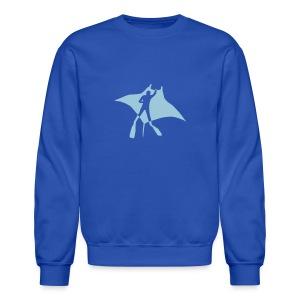 animal t-shirt manta ray scuba diver diving dive fish sting ray - Crewneck Sweatshirt