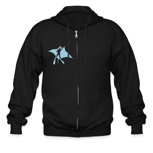 animal t-shirt manta ray scuba diver diving dive fish sting ray - Men's Zip Hoodie