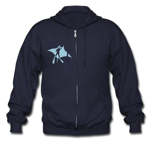 animal t-shirt manta ray scuba diver diving dive fish sting ray - Men's Zip Hoodie