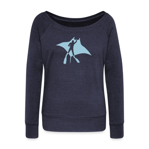 animal t-shirt manta ray scuba diver diving dive fish sting ray - Women's Wideneck Sweatshirt