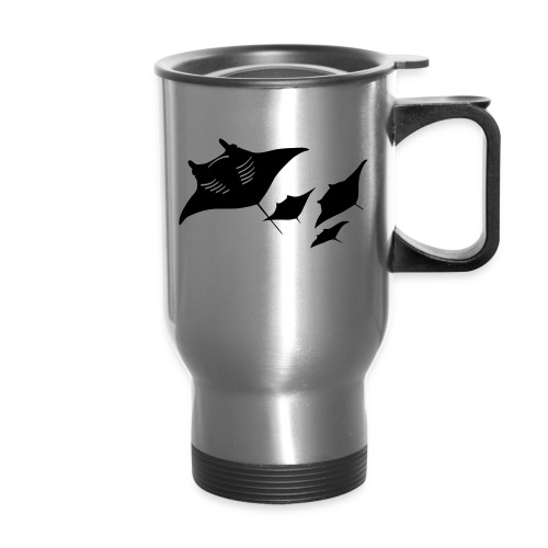 animal t-shirt manta ray scuba diver diving dive fish sting ray - Travel Mug