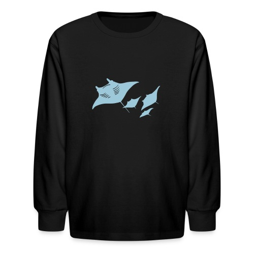 animal t-shirt manta ray scuba diver diving dive fish sting ray - Kids' Long Sleeve T-Shirt