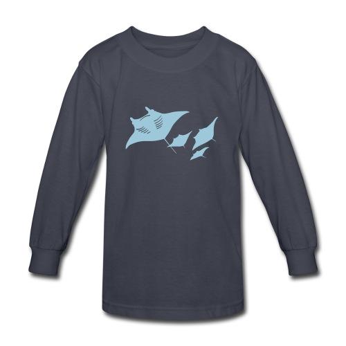 animal t-shirt manta ray scuba diver diving dive fish sting ray - Kids' Long Sleeve T-Shirt