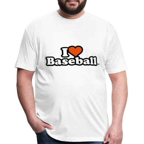 I Heart Baseball® Men's White T-Shirt - Fitted Cotton/Poly T-Shirt by Next Level