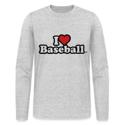 I Heart Baseball® Men's Grey Long Sleeve T-Shirt - Men's Long Sleeve T-Shirt by Next Level