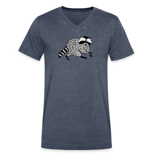 animal t-shirt raccoon racoon coon bear - Men's V-Neck T-Shirt by Canvas