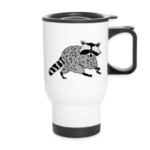 animal t-shirt raccoon racoon coon bear - Travel Mug