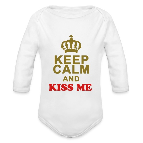 Keep Calm & Kiss Me - Organic Long Sleeve Baby Bodysuit