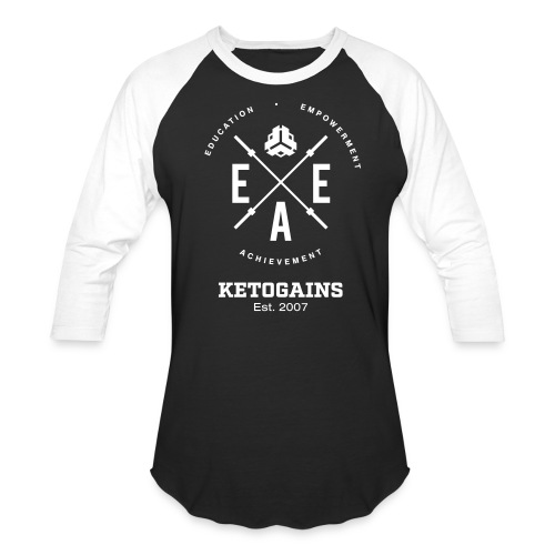Baseball T-Shirt - Ketogains EEA logo - white font - website on back  - Baseball T-Shirt