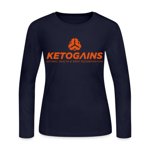Women's Long Sleeve Jersey T-Shirt - New Logo Ketogains Vertical - Logo Front and Back - Orange Font  - Women's Long Sleeve Jersey T-Shirt