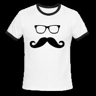 T-Shirts ~ Men's Ringer T-Shirt ~ Hipster Glasses and Mustache