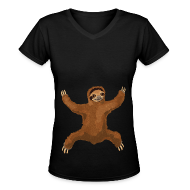 Women's T-Shirts ~ Women's V-Neck T-Shirt ~ Sloth Hug Women's V-Neck