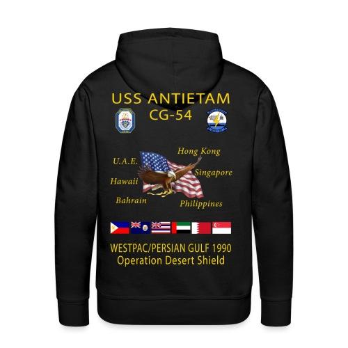 USS ANTIETAM CG-54 1990 DESERT STORM CRUISE HOODIE - Men's Premium Hoodie
