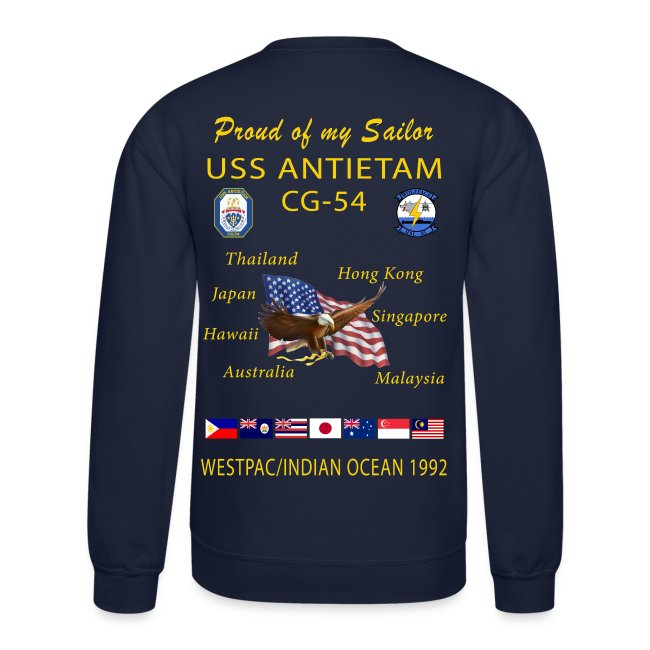 USS ANTIETAM CG-54 1992 CRUISE SWEATSHIRT - FAMILY