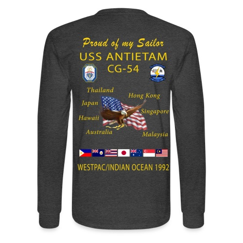 USS ANTIETAM CG-54 1992 LONG SLEEVE CRUISE SHIRT - FAMILY - Men's Long Sleeve T-Shirt