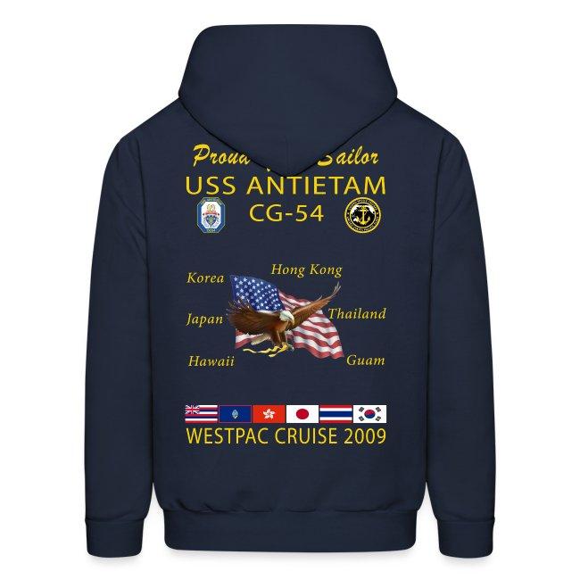 USS ANTIETAM CG-54 2009 CRUISE HOODIE - FAMILY