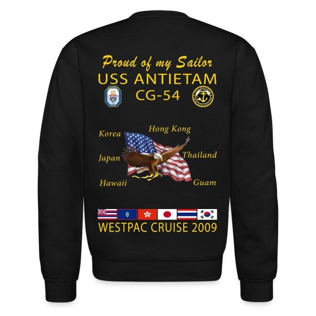USS ANTIETAM CG-54 2009 CRUISE SWEATSHIRT - FAMILY