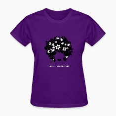 """All Natural"" Hair T-Shirt (White lettering) Women's T-Shirts"