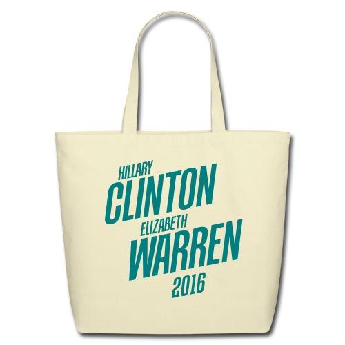 Clinton/Warren 2016 Organic Tote - Eco-Friendly Cotton Tote