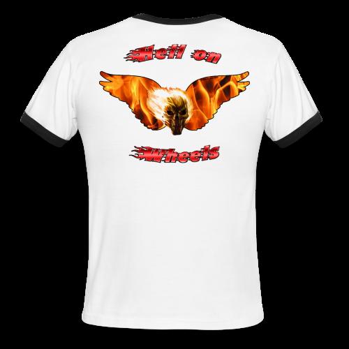 Men's L/W Ringer T Hell on Wheels (Back) - Men's Ringer T-Shirt