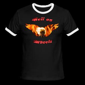 Men's L/W Ringer T Hell on Wheels (Front) - Men's Ringer T-Shirt