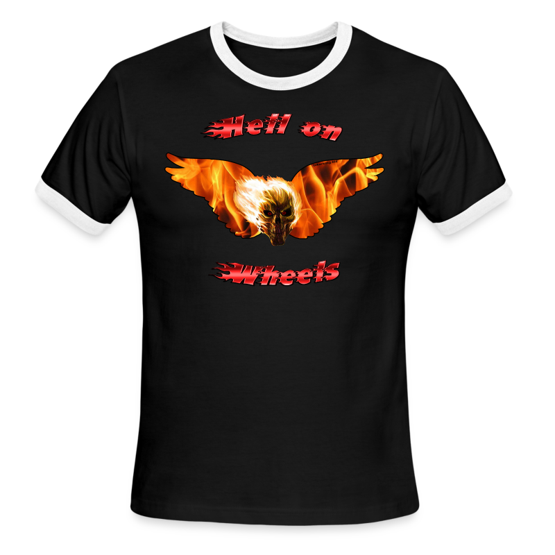 Men's L/W Ringer T Hell on Wheels (Front) - Men's Ringer T-Shirt