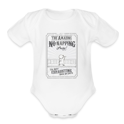 The Amazing No-Napping Baby baby white - Organic Short Sleeve Baby Bodysuit