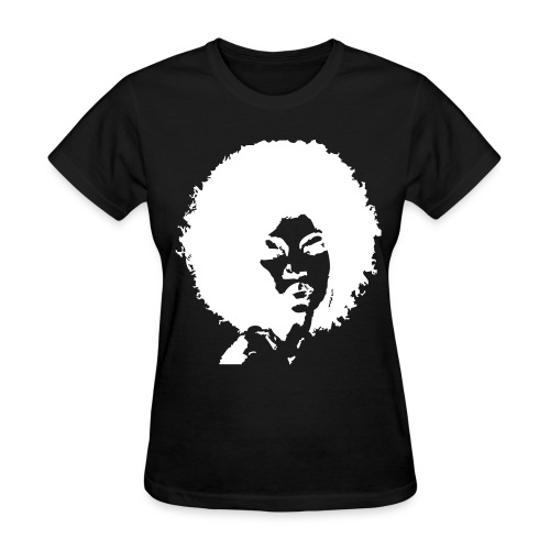 Curly Afro-White Silhouette - Women's T-Shirt