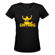 Women's T-Shirts ~ Women's V-Neck T-Shirt ~ Women's Griffining Shirt on Black V-Neck