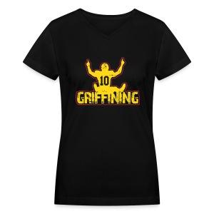 Women's Griffining Shirt on Black V-Neck - Women's V-Neck T-Shirt