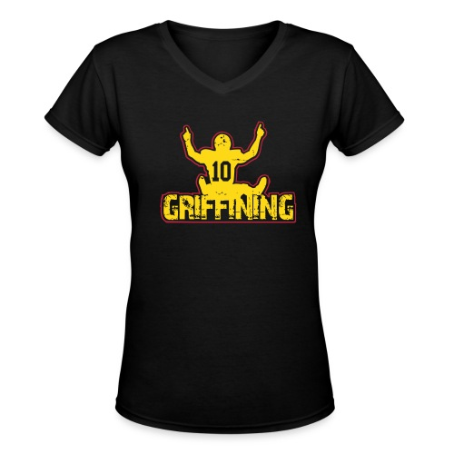 Women's Griffining Shirt on Black V-Neck - Women's V-Neck T-Shirt
