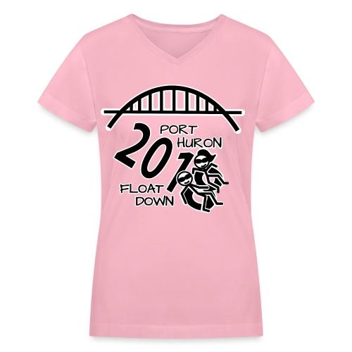 Port Huron Float Down 2018 Shirt - Black and White - Women's V-Neck T-Shirt