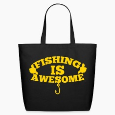 FISHING IS AWESOME with thumbs up and hook Bags & backpacks