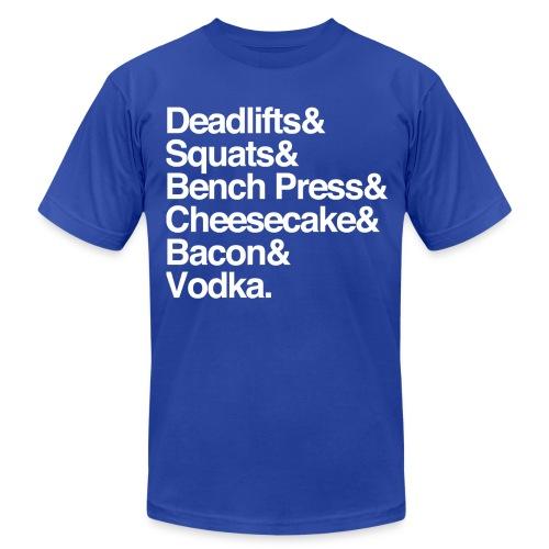 Men's - Deadlifts & Squats & Bench Press & Cheesecake & Bacon & Vodka - Men's Fine Jersey T-Shirt