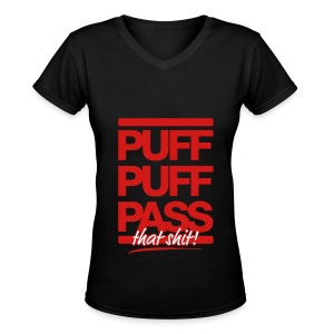 Puff & Pass - Women's V-Neck T-Shirt