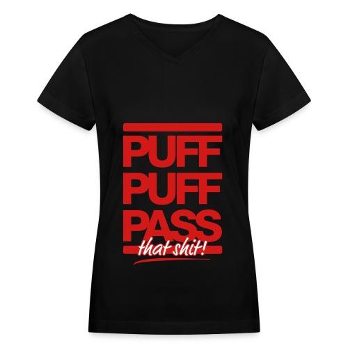 Puff & Pass - Women's V-Neck T-Shirt