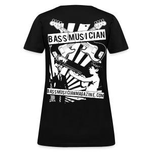 [womens] Bad-Ass Bass T-Shirt in Black [standard fit] - Signature Bass Musician Magazine Design - Women's T-Shirt