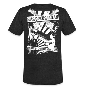 [mens] Bad-Ass Bass T-Shirt in Heather Black [vintage form fit] - Signature Bass Musician Magazine Design - Unisex Tri-Blend T-Shirt by American Apparel