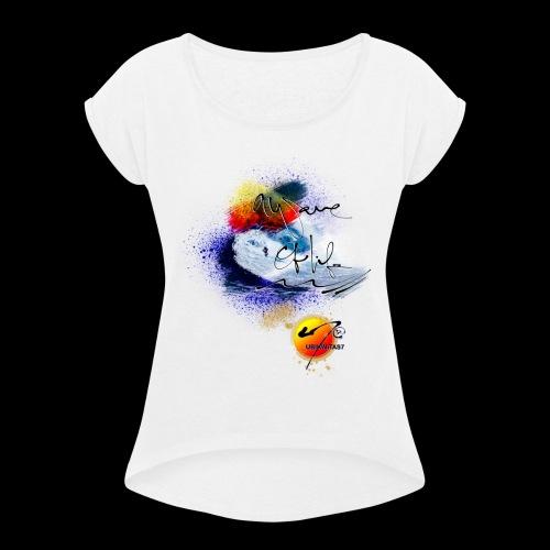 U7 Waves N Sunshine (Double Sided Design) - Women's Roll Cuff T-Shirt